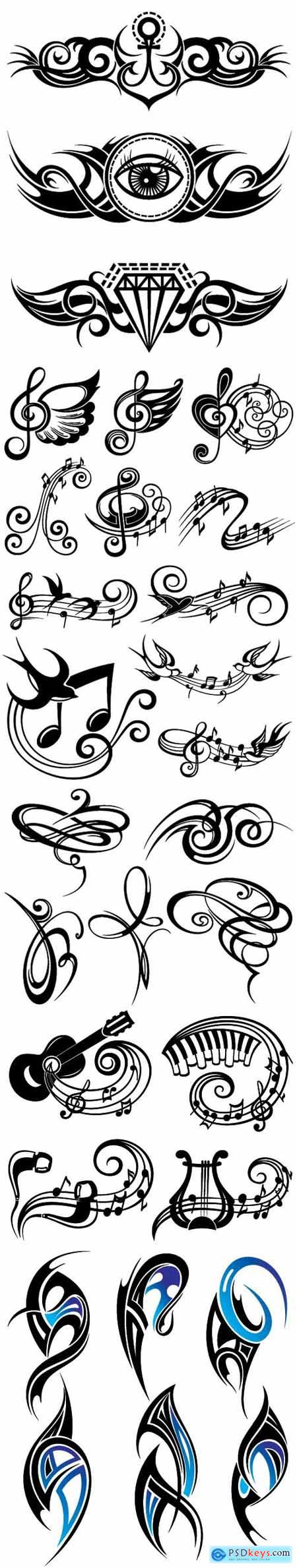 Tattoo patterns in vector