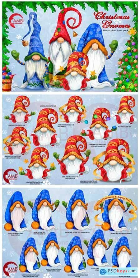Christmas Gnomes Watercolor Super Bundle 1989500