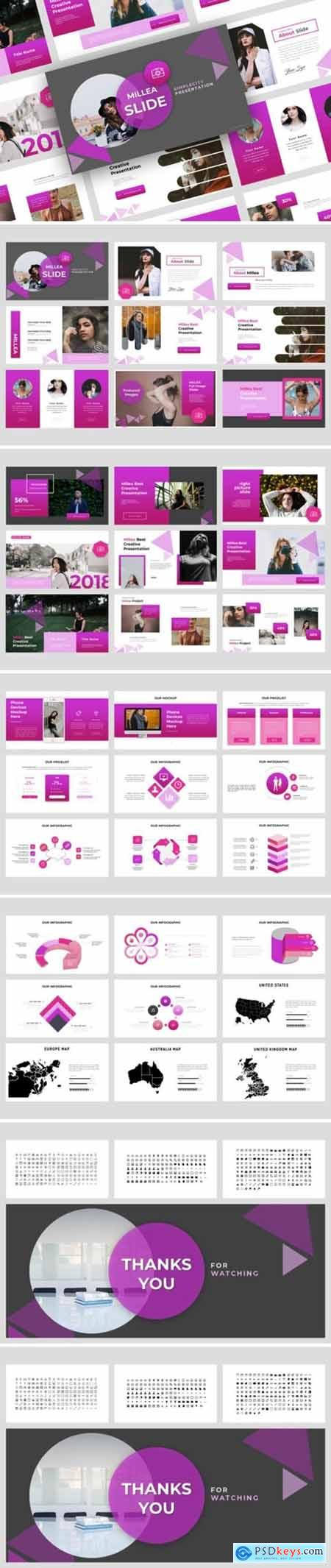 Millea Creative Powerpoint, Keynote and Google Slides Templates