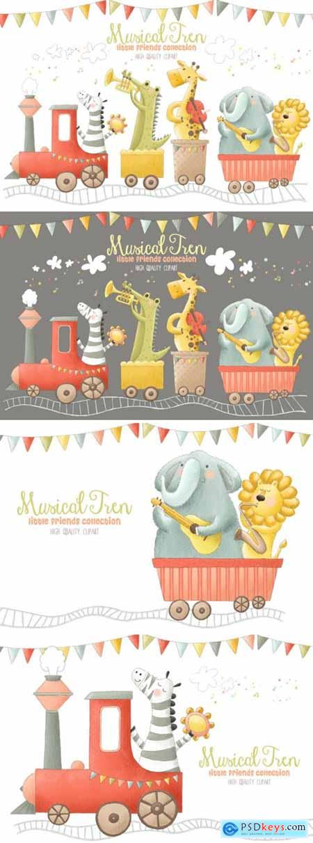 Musical Animals Tren Orchestra Clip Art 1996902
