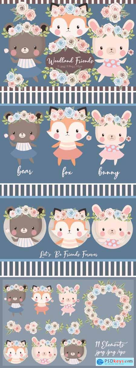 Woodland Friends Clipart Set 1992740
