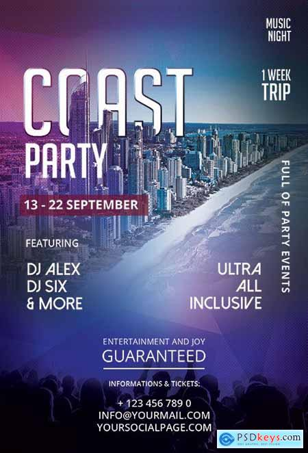 Coast Party - Premium flyer psd template