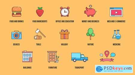Videohive Color Line Icons Pack 22553027