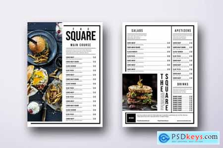Classic Minimal Single Page A4 & US Letter Menu