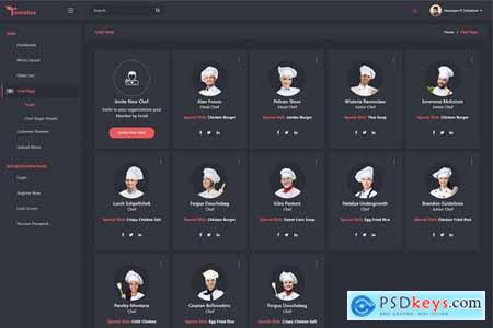 Tomatus-Restaurant Admin Dashboard UI Kit (XD)