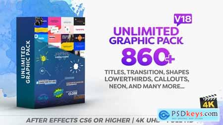 Videohive Unlimited Shapes Titles Transition Lower Thirds & Elements Graphic Pack V18 12002012