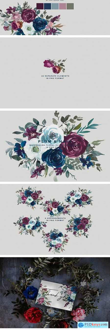Plum & Navy Floral Clipart PNG Collectio 1996636