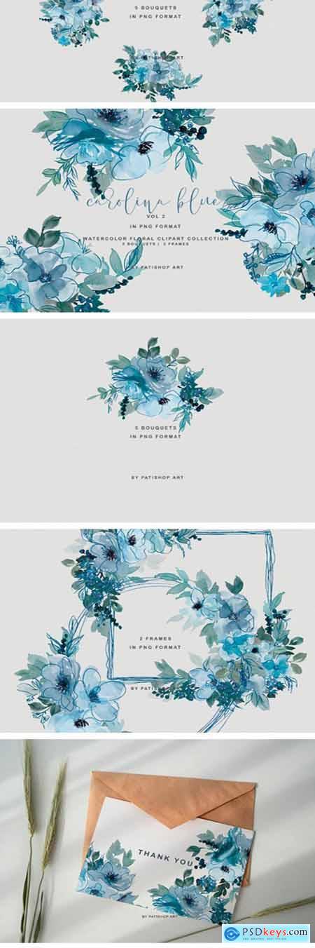 Pastel Blue Watercolor Floral Doodle Set 1996629