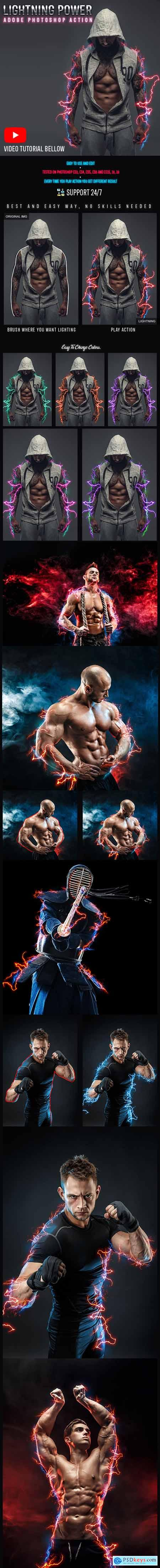 Lightning Power Photoshop Action 24774308