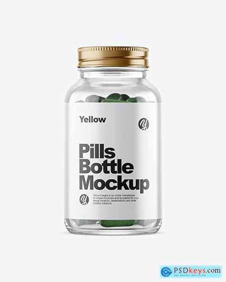 Clear Glass Bottle With Pills Mockup 51638