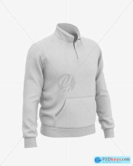 Heather Three Quarter Zipped Sweatshirt 51611
