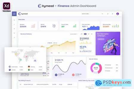 Finance Admin Dashboard UI Kit (XD)