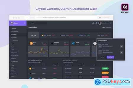 CryptoCurrency Admin Dashboard Dark Version (XD)