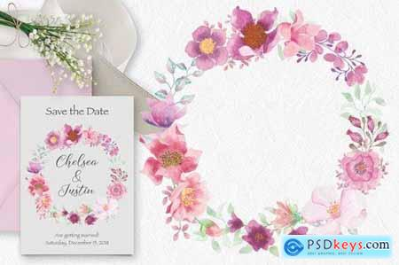 Watercolor Wreath and Sprays in Pinky Shades
