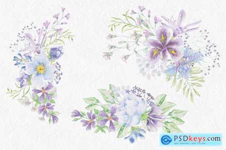 Lilac and Blue Watercolor Clip Art Bundle