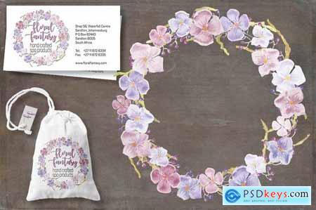 Pastel Hydrangeas Watercolor Clip Art Bundle