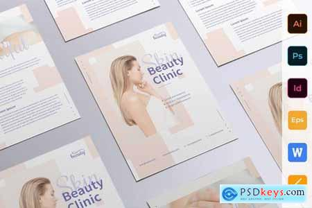 Skin Beauty Clinic Poster Flyer Business Card Brochure Bifold Trifold