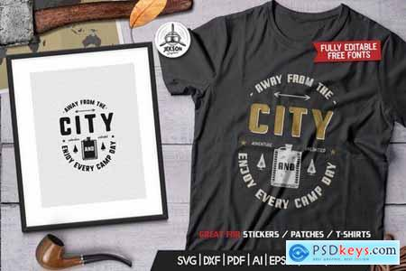 Away From The City, Camping Retro Adventure TShirt