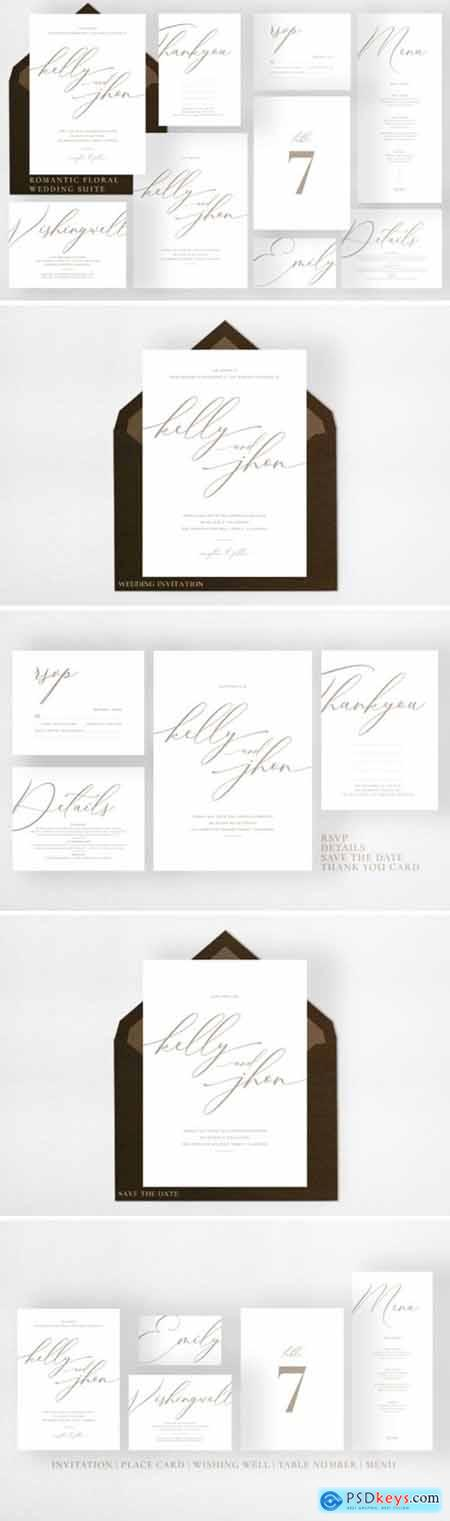 Minimal Gold White Wedding Suite 2007104