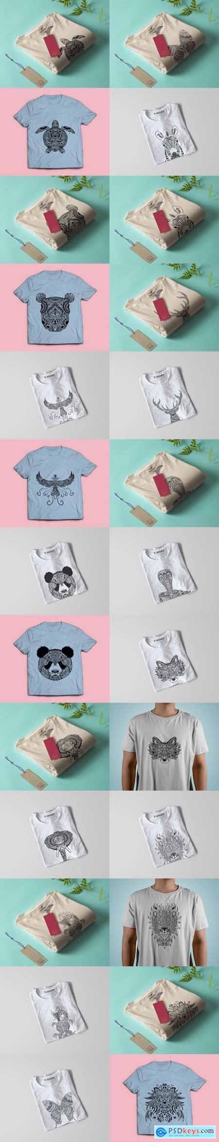 Animals T-shirt Design Vector Illustration Bundle