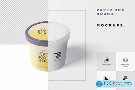 Paper Box Mockup Set - Round Small Size