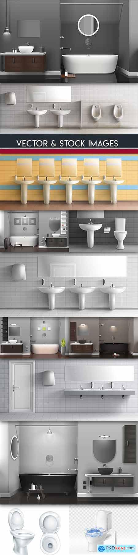 Bathroom modern and toilet interior 3D illustrations
