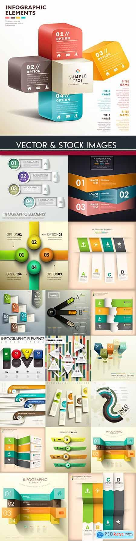 Business infographics options elements collection 107