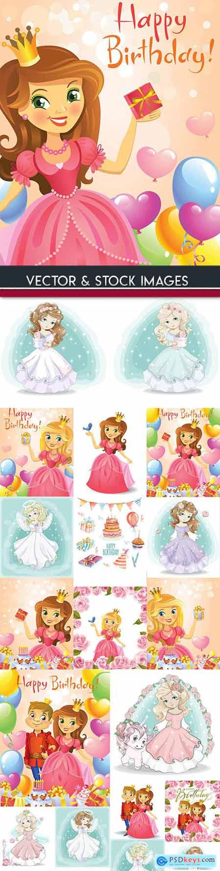 Fabulous princess with flowers for birthday illustration
