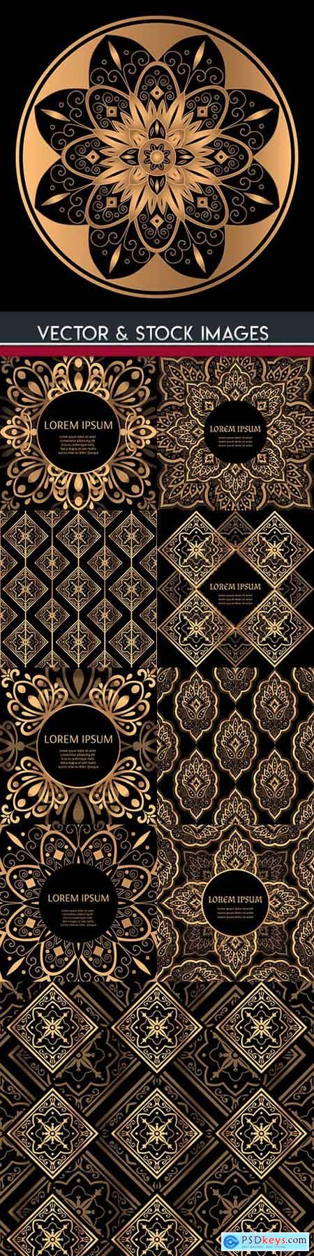 Golden luxury flower ornament decoration pattern