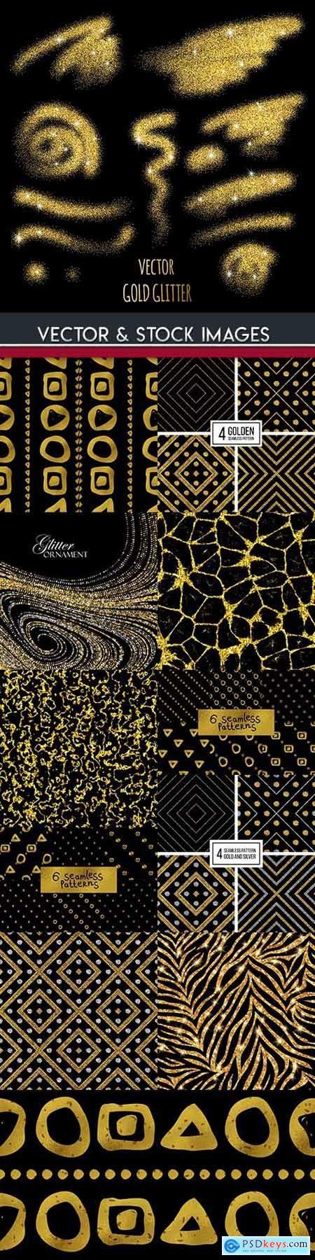 Gold glitter abstract design seamless pattern