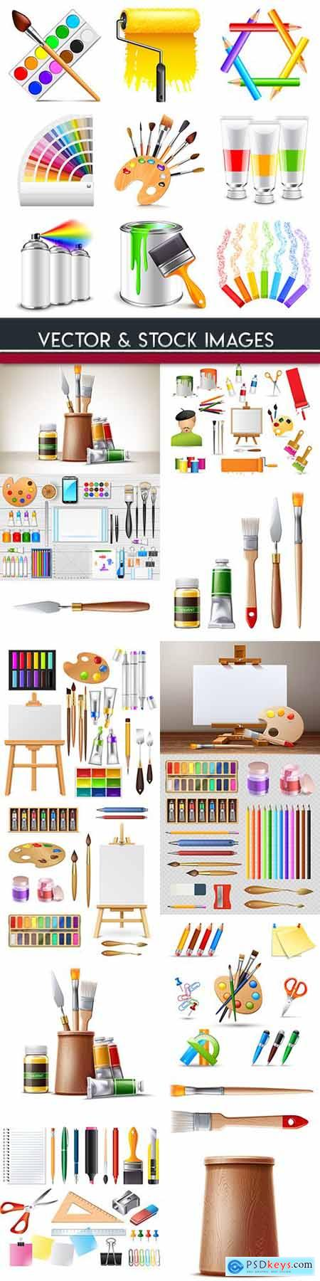 Paints and brushes for drawing young artist