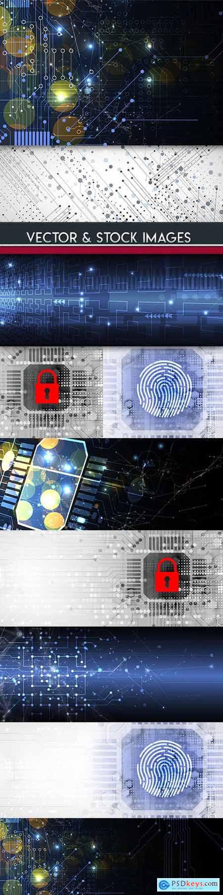 Technology system futuristic design background 6