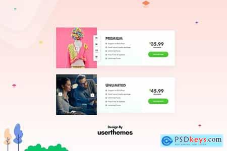 Creative Pricing Table UX PSD Template