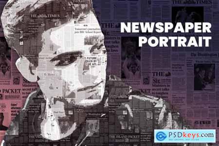 Newspaper Portrait PS Action 4232467