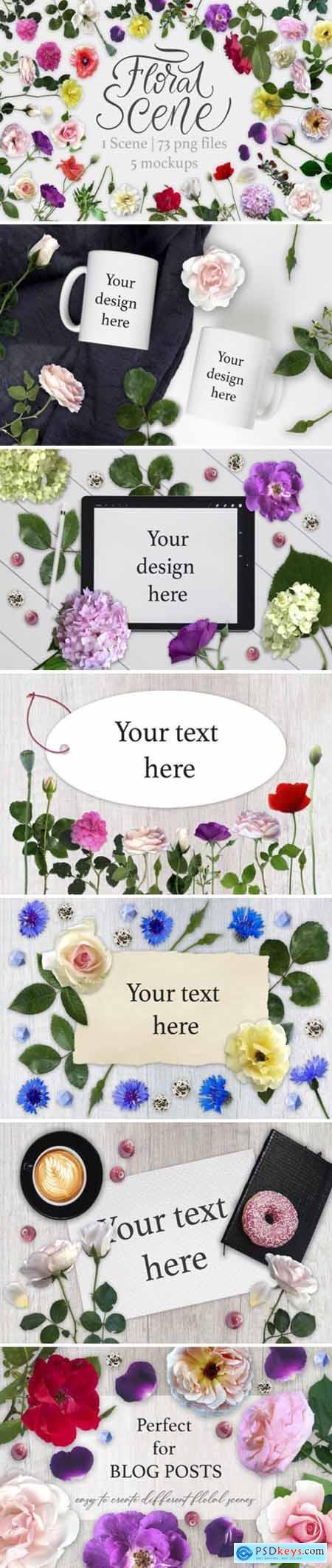 Floral Scene Creator + 5 Mock Ups