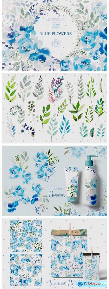 Watercolor Blue Flowers 2013808