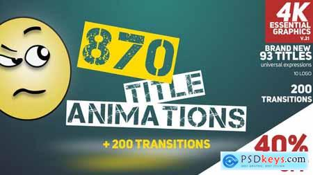 Videohive 870 Title Animations 9006125 (With 24 September 19 Update) Free