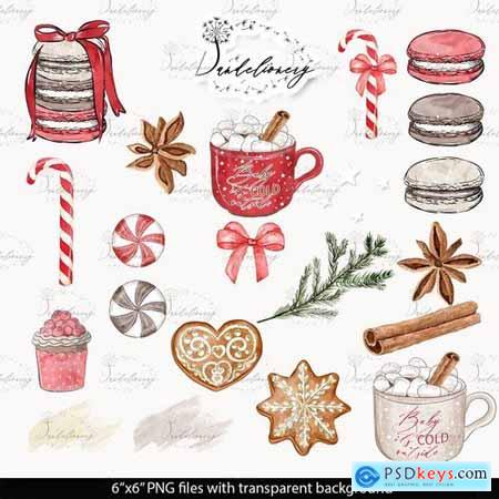 Gingerbread Watercolor Clipart