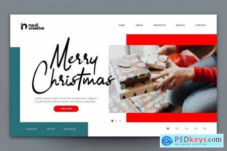 Merry Christmas Web Landing Page AI and PSD