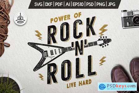 Music Rock n Roll Print for T-Shirt, Retro Design