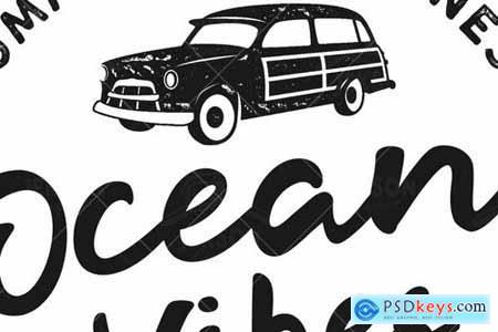 Ocean Vibes, Retro Surfing Print Design, T-Shirt