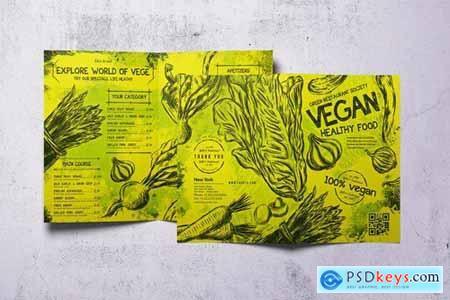 Vintage Vegan Bifold Food Menu A4 & US Letter
