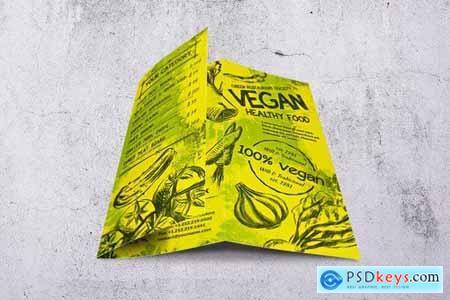 Vintage Vegan Trifold Food Menu A4 & US Letter