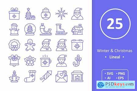 Winter and Christmas Icons - Line