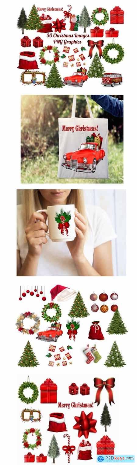 30 Christmas Clip Art Images PNG Bundle 2040288