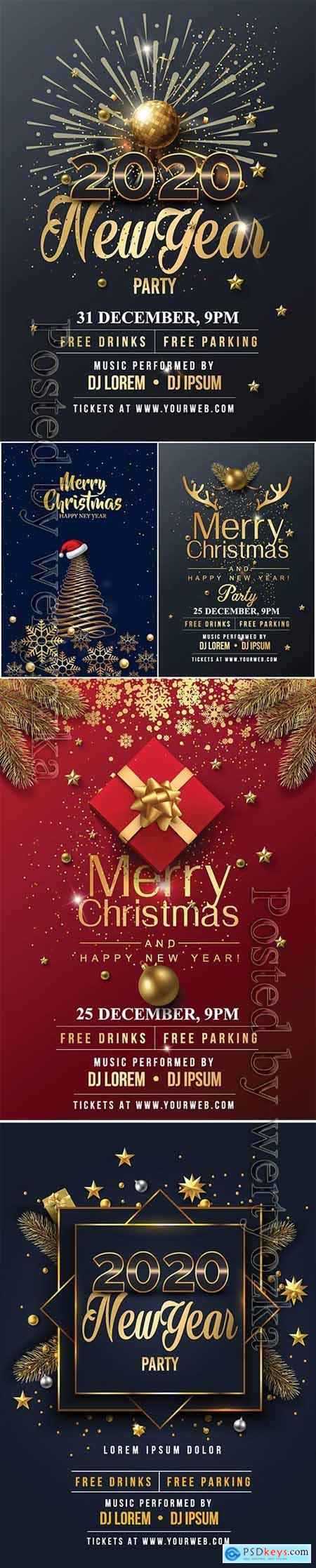 2020 Merry Chistmas and Happy New Year vector illustration v3