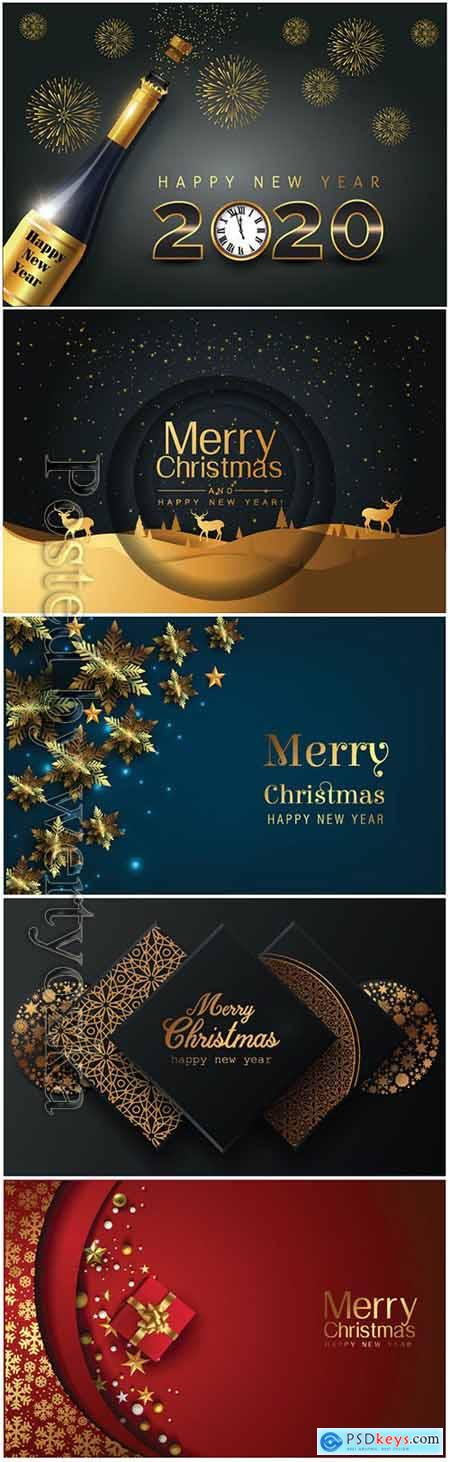2020 Merry Chistmas and Happy New Year vector illustration v4