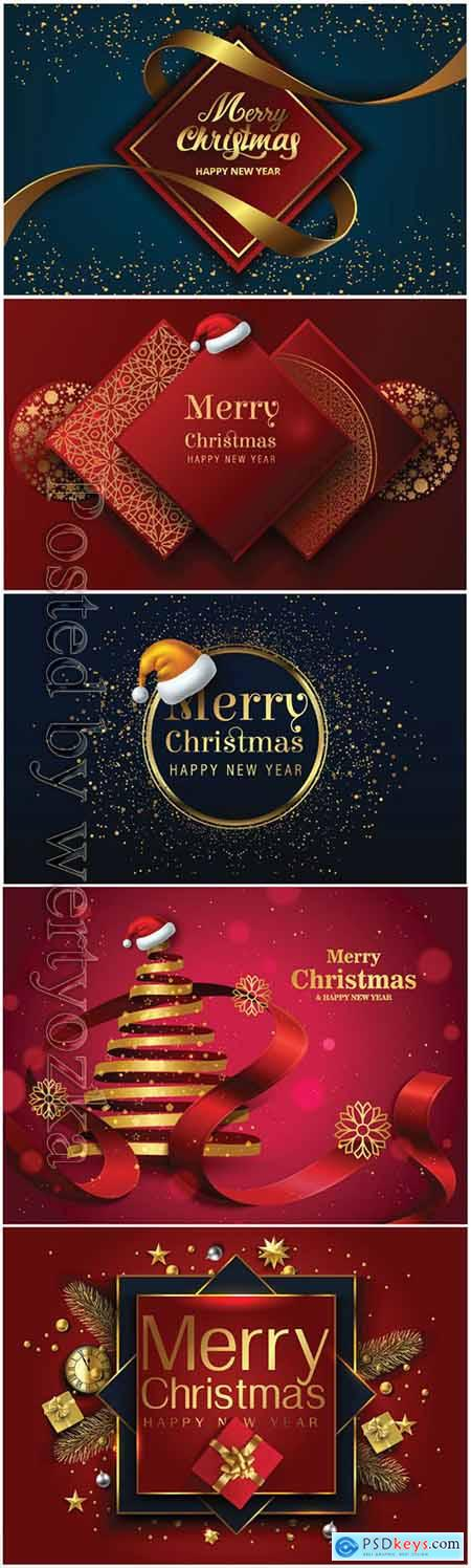 2020 Merry Chistmas and Happy New Year vector illustration v5