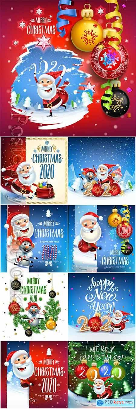 2020 Merry Chistmas and Happy New Year vector illustration v8