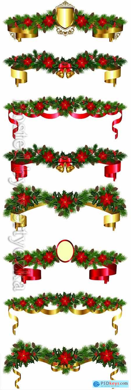 Christmas garland of fir branches, flowers poinsettia, holly, cones